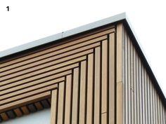 Bijzonder detail in houten gevel. Cladding Design, House Cladding, Timber Cladding, Exterior Cladding, Timber Architecture, Architecture Details, Wooden Facade, Exterior Design, New Homes
