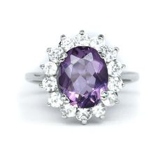 DELICATE 0x8mm Natural Purple Amethyst Ring With White Zircon in 925 Silver #Thaigemstore #SolitairewithAccents