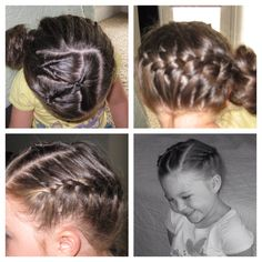 One into two pull thru's on the top and a French braid on the other side into a bun