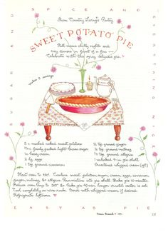 Sweet Potato Pie, Susan Branch for Country Living Magazine