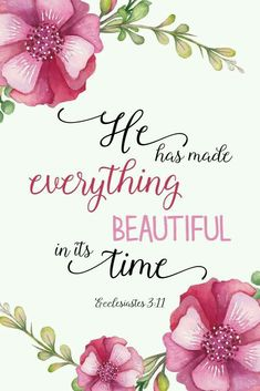 He has made everything beautiful in its time/ Ecclesiastes 3:11