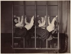 The ladies of Charlestown High School working on their parkour skills, ca. 1899. From the collection of photographs of Boston Public Schools taken by A.H. Folsom for exhibition at the 1900 Paris Expo from the Boston Public Library.