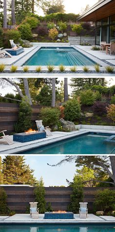 This backyard is fully landscaped and includes a pool, a firepit, a barbeque and a space for outdoor dining.