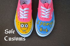 5489442845ccb6 Items similar to Custom Vans - SpongeBob Squarepants Toddler Kids Shoes on  Etsy