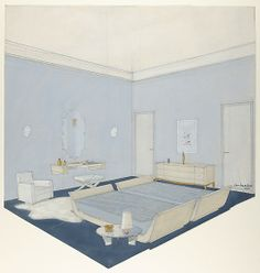 Design for a bedroom, in blue, twin beds and other furniture of bleached wood, or laquered -  André Arbus - 1935.