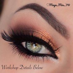 Copper eye look #eye #eyes #makeup #eyeshadow #smokey #dramatic #dark #metallic