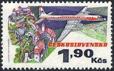 Sello: Iljuschin II 18 (Checoslovaquia) (50 Years Of Aviation) Mi:CS 2169,Sn:CS C80,Yt:CS 2014,AFA:CS 2013,POF:CS L77