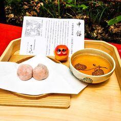 Having Saru-Mochi , the sweets from 140 years ago! It's made on Aoi Matsuri. #mizunushikun #kyoto #sweets #mochi #azuki #bean #tea #japan #japanese #japanesesweets #houjicha #food #foodie
