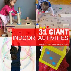 Here is a GIGANTIC list of GIANT indoor kids activities to do with your toddler or preschooler indoors. From letters to sensory to art and more. Indoor Activities For Toddlers, Toddler Learning Activities, Games For Toddlers, Motor Activities, Holiday Activities, Infant Activities, Toddler Games, Preschool Education, Toddler Crafts