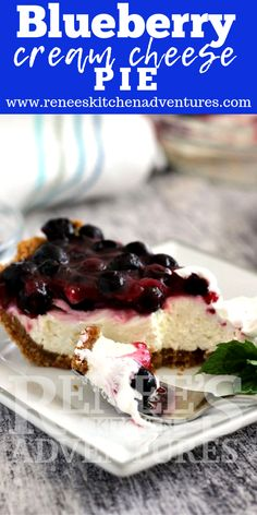 You are going to love this recipe for Blueberry Cream Cheese Pie. Sweet graham cracker crust filled with a luscious cream cheese layer all topped with delightful fresh blueberries.This no bake recipe won't heat up your kitchen either! Blueberry Cream Cheese Pie, Fresh Blueberry Pie, Cream Cheese Desserts, Blueberry Desserts, Easy Pie Recipes, Cream Cheese Recipes, Dairy Recipes, Summer Recipes, Fall Recipes