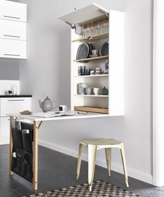 Worksurfaces are often limited in smaller kitchens. The Table Plus solid oak storage unit from Magnet Kitchens offers a pop-up temporary worksurface that takes up little room when not in use. It has a simple pull-down mechanism that provides a seating or additional surface area for preparation. Finished in matt white, also available in matt black. £600. magnet.co.uk #utopiamag.co.uk #kitchen