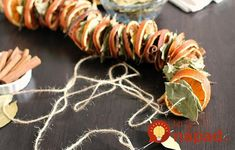 Learn how to make this garland with dried oranges, bay leaves and cinnamon sticks. It's a fun and easy decorating project for your home. Dried Orange Slices, Dried Oranges, Dried Apples, Dried Fruit, Easy Fall Crafts, Crafts To Do, Holiday Crafts, Party Garland, Diy Garland