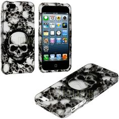 myLife (TM) White + Black Scary Skull Series (2 Piece Snap On) Hardshell Plates Case for the iPhone 5/5S (5G) 5th Generation Touch Phone (Cl...
