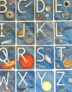 Childrens Alphabet Art Solar System Wall; Community building project? (grade 6 students create, then give cards to kindies?)