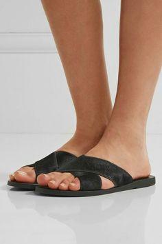 f9a239bd9a96 Ancient Greek Sandals - Thais Calf Hair Slides - Black - IT