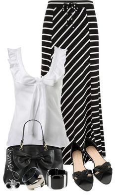 """Striped Maxi Skirt & Bow Top"" by jaimie-a on Polyvore"