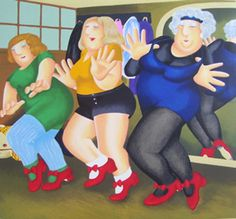 Dancing Class(Humour) by Beryl Cook - Paintings & fine art pictures available on discounted prices Beryl Cook, Dance Paintings, Fantasy Paintings, Plus Size Art, Fabian Perez, Funny Sexy, Alex Colville, Fat Women, Curvy Women