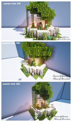 Garden Pond Design - Minecraft World 2020 Minecraft Farmen, Minecraft Villa, Architecture Minecraft, Minecraft Welten, Minecraft Cottage, Minecraft Mansion, Minecraft Structures, Cute Minecraft Houses, Minecraft House Designs