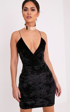 Jo Black Strappy Crushed Velvet Bodycon Dress