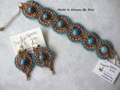 Micro-Macrame bracelet and earrings, from Made In Kansas By Rosi... on Facebook.