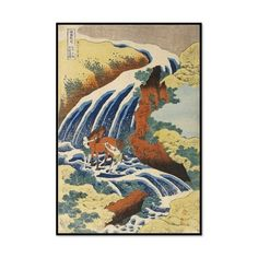"""Two Men Washing a Horse in a Waterfall (16.5""""L x 11.4""""W)"""