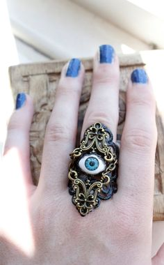Ebony Armour  Illuminati Eye Ring  Adjustable by ArmaMedusa