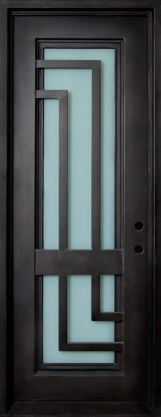 Wrought Iron Door, Frame and Glass with L-Shaped Scrolls