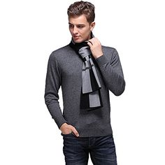 Fashion Land Mens British Style Australian Wool Scarves and Wraps Warm Shawls Black * Be sure to check out this awesome product.