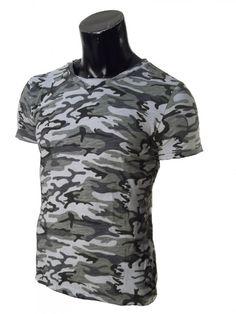 T-Shirt Mimetica Uomo Mezza Manica in Tinta Mimetica Militare