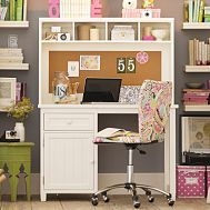 Beadboard Space-Saving Desk + Hutch #PBDORM This desk is cute and would be a nice size in my room.