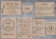 Printable Rustic rosemary wedding invitation, save the date, RSVP, table number, place card on kraft
