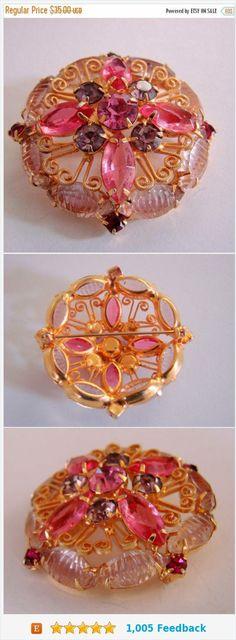 Fall Sale Vintage Pink & Amethyst Rhinestone Cluster Brooch Open Back Navettes Art Glass Juliana (?) Jewelry Jewellery