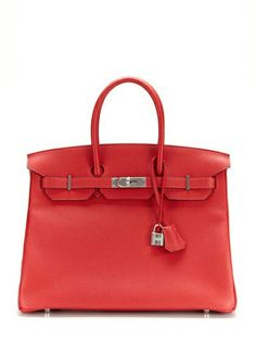 HERMÈS BIRKIN: ROUGE CASAQUE CLEMENCE - Newest Shade of Hermès Red. Made of a soft luxury leather called Clemence (baby bull).