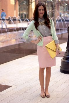 Top: J.Crew | Sweater: J.Crew | Skirt: J.Crew | Flats: J.Crew | Bag: Asos | Jewelry: J.Crew, J.Crew Factory, Michael Kors, Nadri, F21, Juicy Couture