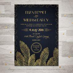 Art Deco Wedding Invitation, Navy and Gold Wedding Invitation, Feather Invitation, Roaring 20s Invitation, PRINTABLE Wedding Invitation Set