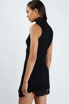 **High Neck Crochet Shift Dress by Rare