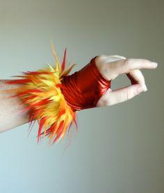 Furry Red Fire Fingerless GLOVES -