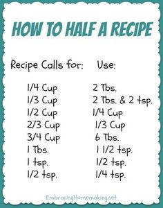How to Half a Recipe - just in case you are cooking for yourself and dont need a whole big meal! Think Food, Food For Thought, Love Food, Do It Yourself Videos, Kitchen Measurements, Recipe Measurements, Ruler Measurements, Half And Half Recipes, How To Half A Recipe