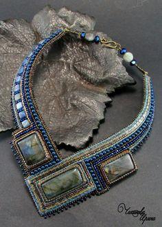 """Купить Колье """"Натали"""" - синий, натуральные камни, вышитое колье, вышитые украшения, Вышивка бисером"""