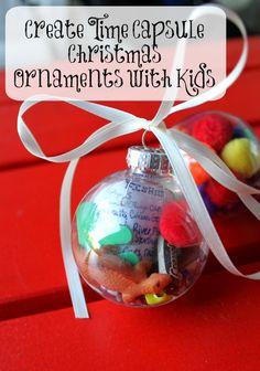 Create Time Capsule Christmas Ornaments with Kids  #DIY #keepsake