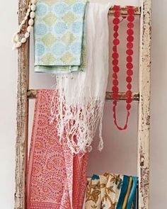 Repurposed ladder holds scarves/belts/jewelry