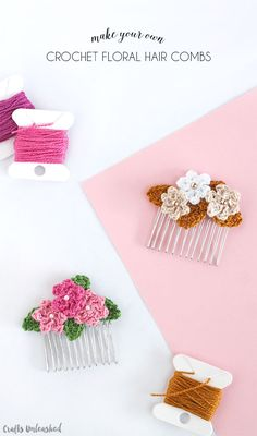 Make Your Own Hair Combs with Crocheted Flowers ~ full, detailed tutorial with photos