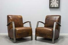 Fauteuil Leer rechthoekig gestikt - Vintage leder met industrieel metaal  - Art. 121