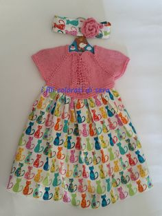 "FREE SHIPPING Dress ""CATS"" for baby girl with an incentive to mesh and the skirt of printed fabric with the cats,with ribbon by ifilicoloratidisara #italiasmartteam #etsy #babydress"