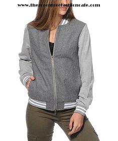 Sale Cheap Women Clothing - Thread & Supply Grey Varsity Jacket -