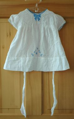d570b7d949bf6 Vintage Late 1930's Dotted Swiss Baby Dress with Appliqué Vintage Baby  Dresses, Vintage Baby Clothes