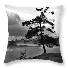 """Georgian Bay Pine - Black and White Throw Pillow 14"""" x 14"""""""