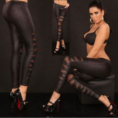 New Sexy brown Women Faux Leather Gothic Punk Elasticity Leggings Pants Trousers #Unbranded