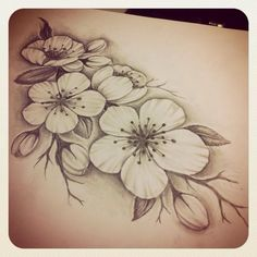 Drawn cherry blossom realistic in realistic cherry blossom drawing collection - ClipartXtras Flor Tattoo, Arm Tattoo, Body Art Tattoos, New Tattoos, Sleeve Tattoos, Tatoos, Tattoo Ink, Piercing Tattoo, Piercings