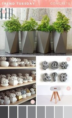 Concrete or cement is a material that you can find in almost every household. This material is a very common material and has many uses, other than as the main material for building purposes, concrete can also be used to make decoration or decoration. Cement Art, Concrete Pots, Concrete Crafts, Concrete Design, Concrete Planters, Wall Planters, Concrete Garden, Succulent Planters, Succulents Garden